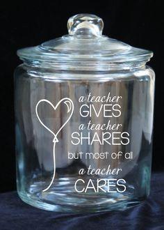 Teacher Appreciation Jar 1 Gallon Glass Cookie Jar by JoyousDays