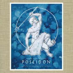 Greek and Roman Gods Poseidon and Neptune God of the Sea - Olympians Art Print 11 x 14
