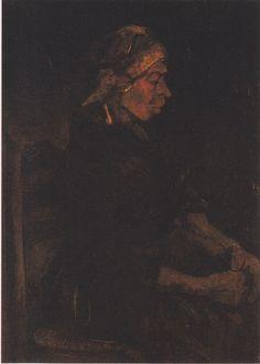 Van Gogh - Bäuerin, sitzend, mit weißer Haube, 1885