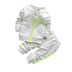 Toddler Bodysuits Products for Children Sport Spring top w/zipper and Pants(Grey)