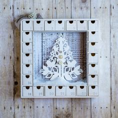 Wooden Christmas Advent Calendar with Numbered Boxes - White Tree by knollwoodlane on Etsy