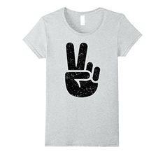 Womens Cool Peace Victory Winner Sign Hand Fingers Tee Shirt Large Heather Grey