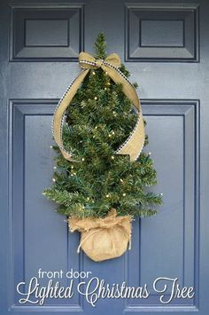 FRONT DOOR CHRISTMAS TREE WITH LIGHTS