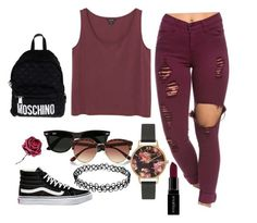 """Maroon Day"" by indiajg on Polyvore featuring beauty, Vans, Monki, Moschino, Ray-Ban, River Island, Olivia Burton and Smashbox"