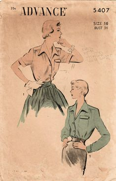 Love the details of this blouse, new in my #etsy shop: 1950s Advance 5407 Vintage Sewing Pattern Misses Blouse, Shirtwaist Blouse, Wing Collar Blouse Size 16 Bust 34 http://etsy.me/2nYp7Fm #supplies #sewing #missesblouse #blousepattern #1950ssewingpattern