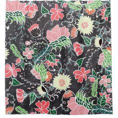 Pastel preppy hand drawn garden flowers chalkboard shower curtain