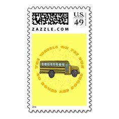 Custom name School Bus Wheels Postage Stamp