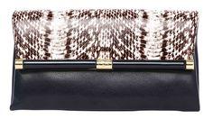 Diane von Furstenberg clutch, $230 snakeskin used partially for trim