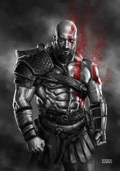 Since the new God of WaR has been presented with a demo that crushed 2016 -and us- I really wanted to draw something special for this game, but due t. KRATOS - God of WaR 4 Vikings, War Tattoo, Kratos God Of War, Viking Warrior, Spartan Warrior, New Gods, Marvel, Gaming Wallpapers, Fantasy Warrior