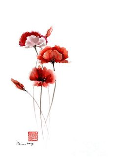 Poppies Flowers Pink Orange Red Poppy Flower Giclee Fine Art Print Of Watercolor…