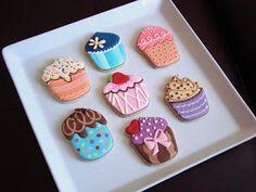 Cupcake Cookies~                       By Sugar Bliss, blue, pink, Orange, purple