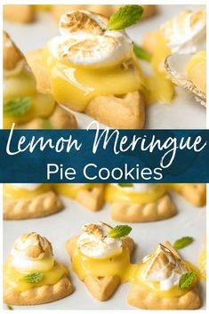 These lemon meringue cookies are a fun, bite-sized version of lemon meringue pie! These easy lemon meringue pie tarts are the perfect dessert to serve at parties! #thecookierookie #lemoncookie #dessert #cookies #meringue #lemon via @beckygallhardin