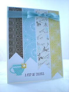 Love the use of four different patterned papers at varying lengths, tied together with a ribbon and a pearl.  Get way to use scraps! Use corner of a square punch to cut out triangle at bottom.
