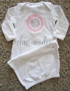 Monogrammed Newborn Layette Gown by ChicADeeEmbroidery on Etsy, $22.00