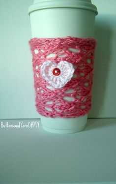 Pink Cup Cozy Heart Travel Mug Sleeve