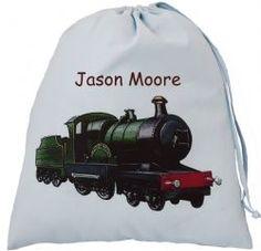Personalised Steam Train Large Blue Drawstring Bag