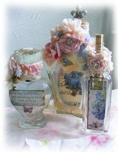 Shabby Rose Vintage Jar Antique Decorated Bottles
