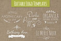 Cute Premade Logo Templates Set 7 by The Pen & Brush on @creativemarket