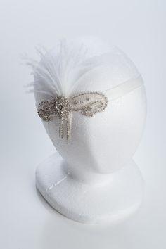 1920's wedding headband, wedding flapper headband with feathers, great gastby wedding headband, bridal headband on Etsy, $79.90