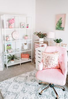 Modern Bohemian Chic Home Office Reveal Mesa Home Office, Cozy Home Office, Home Office Design, Home Office Decor, Ikea Office, Office Ideas, Gold Office, Desk Ideas, White Desk Home Office