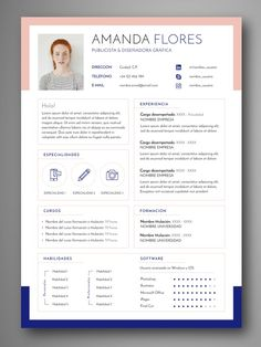 Resume infographic : Descarga plantillas editables de Curriculum Vitae CV visuales y profesionale If you like this design. Check others on my CV template board :) Thanks for sharing! Portfolio Resume, Portfolio Design, Portfolio Web, Cv Designer Web, Graphic Designer Cv, Cv Template, Resume Templates, Modelo Curriculum, Cv Simple