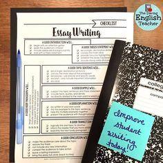Free essay writing checklist for middle school and high school English. Secondary ELA essay writing.