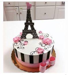 Pink and Black Paris Eiffel Tower Cake – Kuchen Rezept Paris Birthday Cakes, Paris Themed Cakes, Paris Themed Birthday Party, Paris Cakes, Paris Party, Birthday Cake Girls, Spa Birthday, 10th Birthday, Pretty Cakes