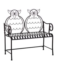 Another great find on #zulily! Black Metal Owl Bench by Evergreen #zulilyfinds