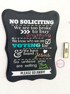 """Handmade & Hand Painted """"No Soliciting"""" Sign - Do Not Disturb - Baby Sleeping - No Flyers - Front Door Sign - Beware of Dog - Window - Porch"""