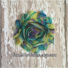Yellow Blue and Purple Swirl Shabby Chic Flower Headband, Colorful Hair Bow, Girls Alligator Clip, Flower Hair Accessory, Easter Barrette by BandsForBabes on Etsy