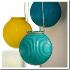 DIY-reuse old globe lights by painting them and turning them into hanging globe lanterns; Hanging Lanterns, Diy Hanging, Hanging Lights, Glass Lanterns, Garden Lanterns, Indoor Lights, Diy Chandelier, Chandeliers, Old Globe