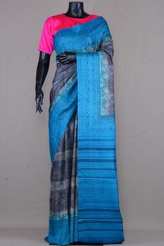 Grey & Beige Tussar Silk Printed Saree-VE3521