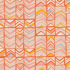 Meadow by Leah Duncan for Art Gallery Fabrics Geos Bright Mandarin - Lady Belle Fabric