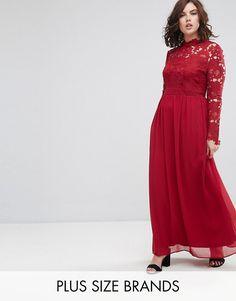 Club L Plus Sleeve High Neck Crochet Detailed Maxi Chiffon Dress Latest Fashion Clothes, Latest Fashion Trends, Fashion Online, Chiffon Maxi Dress, Bridesmaid Dresses, Wedding Dresses, Asos Online Shopping, Women Wear, Plus Size