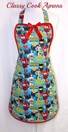 Apron WONDER Woman, SUPER HEROES, Super Girl, Bat Girl, Girl Power, by ClassyCookAprons, $36.50
