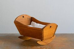 Vintage Wooden Cradle with Cushion for Small Dolls