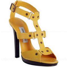 Jimmy Choo Yellow Leather Prize Platform T Strap Sandals