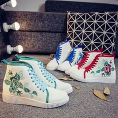Women's Canvas Embroidered High-Heeled Sneaker Lace Up Casual Sport Pump Shoes