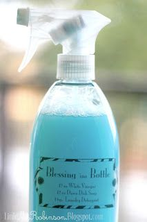 """Blessing in a Bottle 12 oz. of White Vinegar 12 oz. of Dawn Dish soap 1 tsp. of Laundry Detergent also known as """"kitchen Magic"""" This stuff will get through anything, make your sink and shower shine like new, and save you when just about nothing else works. The laundry detergent is optional-add it simply to cover some of the vinegar smell!"""