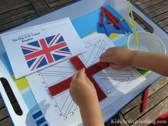 Create a British Flag activity for kids- do this with any flag!