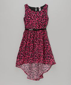 Another great find on #zulily! Hot Pink Leopard Belted Hi-Low Dress by Beautees #zulilyfinds