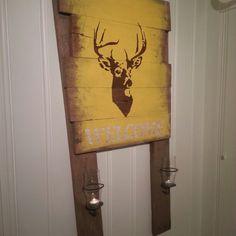 Deer yellow welcome light diy paint brown
