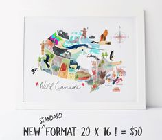 Map of Canada Illustrated Canada watercolour bright whimsical Map Standard 12 x 18 or 16 x 20 or 18 x 24 or 24 x 36 XL unframed formats Ontario, Posters Canada, Illustrator, Lobster Trap, Country Maps, Great Housewarming Gifts, Tumblr, France, Frames