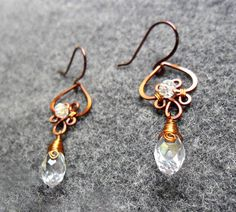 Copper earring Flower with crystals  by MakeMyStyle