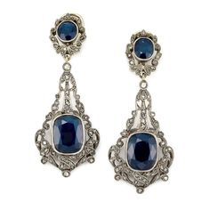 Pair of Silver, Gold, Sapphire and Diamond Pendant-Earclips