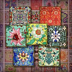 Chinese Designs 1 Inch Digital Collage Sheet One Inch Scrabble Tile Images Digital Pendant Jewelry Vintage Asian Floral 216