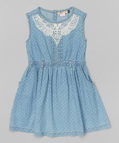 9a74e194fe5a0 Blue Denim Pin Dot Embroidered Dress - Girls