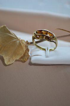 Vintage gold citrine ring Vintage Citrine by HiddenAtticAntiques