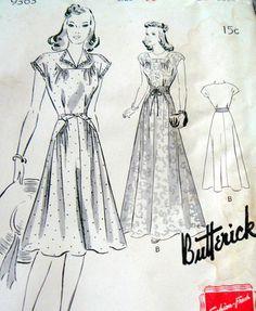 Lovely Vtg 1940s Dress Butterick Sewing Pattern:  yoke and hip detail