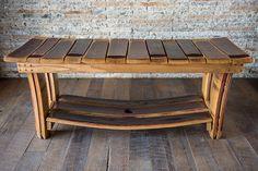 Wine Barrel Bench with Shelf